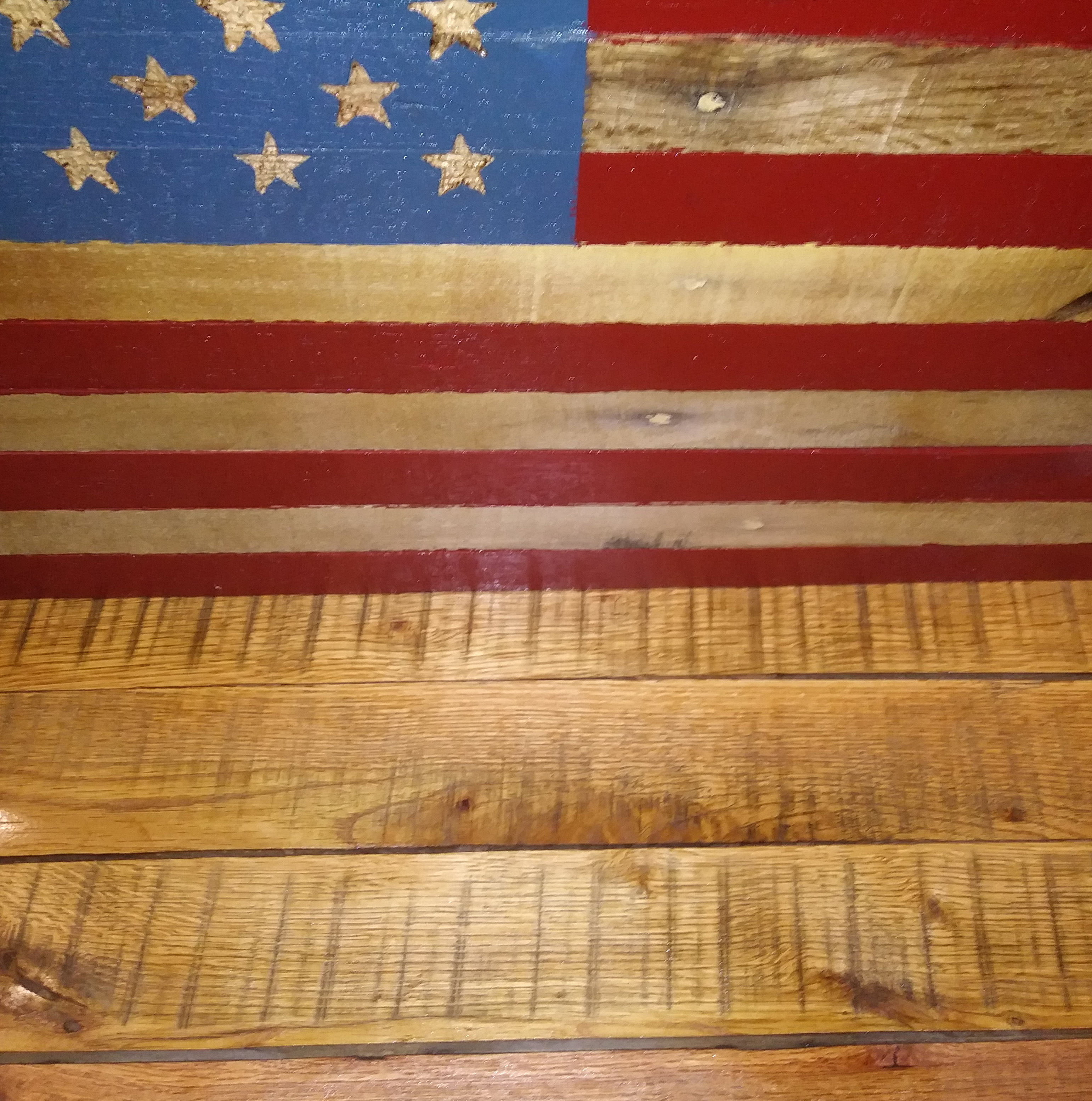 Hand Made Solid Oak Rustic Wooden Flag Bench