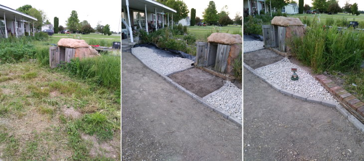 Before and After walkway job in progress