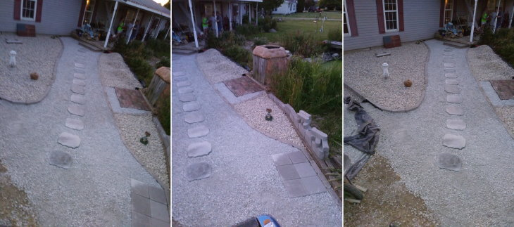 Walkway job finished and faux stones anchored