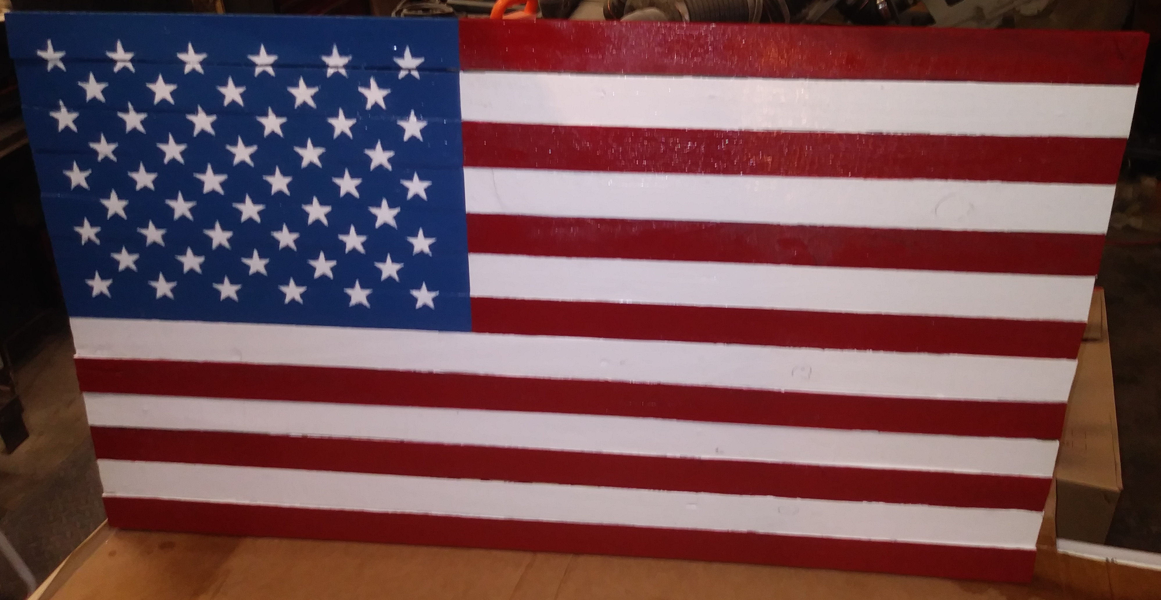 Hand Made Painted Rustic Wooden Flag